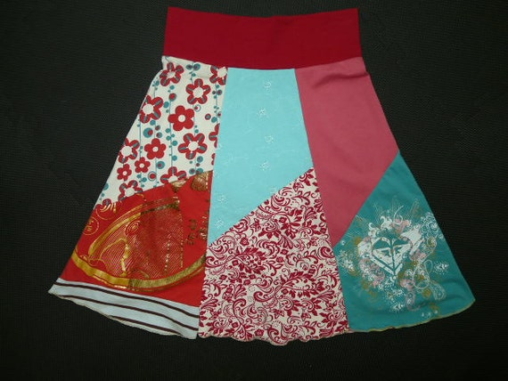 Boho Chic Hippie Skirt upcycled recycled t-shirt clothing from TWINKLE Women Small Medium