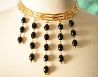 SALE Handmade Vintage Gold and Black Art Deco Necklace