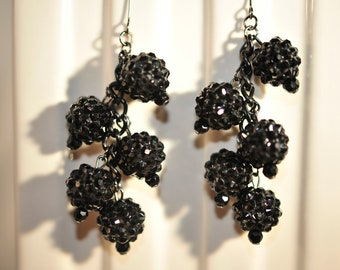 SALE Handmade Vintage Black Pave Party Earrings