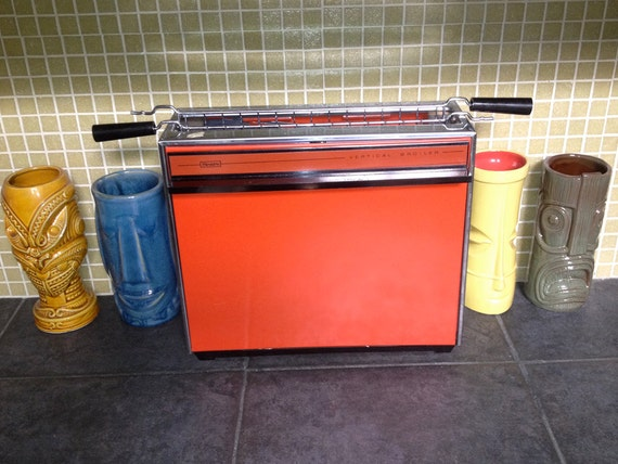 MOD Red Orange Kitchen Appliance Vertical Broiler Oven Housewares toaster Vintage 60s 70s Unused Sears NOS