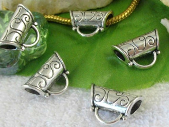 Silver slider bail, big hole, fancy bali style, etched, 4pcs