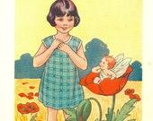 Vintage 1930's Children's Bookplate - The Poppy Fairy