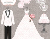 Luxury Wedding Dress & 2 Tuxedos - Personal Or Small Commercial Use Clip Art (P036)