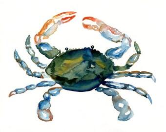 CRAB-10x8inch print-Art Print-Sea Watercolor Print-Giclee Print-