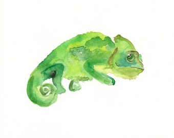 CHAMELEON-ACEO print--Art Print-animal Watercolor Print-nursery decor-children art-home decor