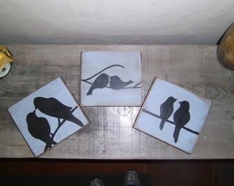 Love Bird Silhouettes, Bird Silhouette, Bird Painting, Set of Three Paintings