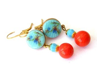 Turquoise and coral earrings - vintage glass button earrings. Turquoise dangle earrings. Vintage earrings.