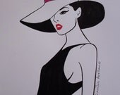 LADY WEARINg a HAT  Abstract Original Acrylic POP Painting