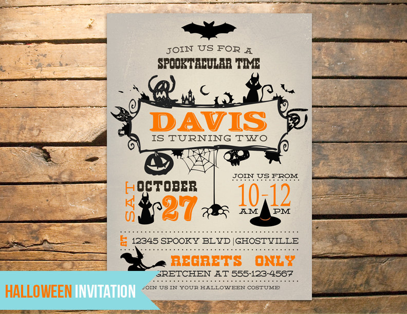 Vintage halloween birthday invitation plus by for Vintage halloween party invitations