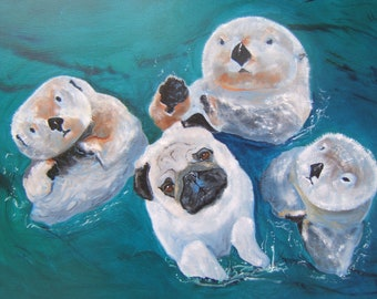 "Pug Art Print of an original oil painting  / ""Brothers From Other Mothers"" / 8 x 10 / Dog Art"