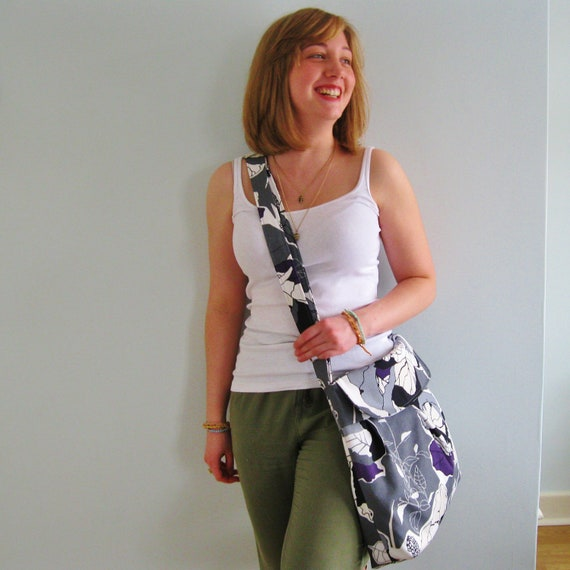 Cross body purse. Pleated - Across the body bag, Adjustable strap, large print. Ready to ship.