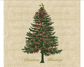 Christmas tree Red Green ornaments Digital download image for iron on fabric transfer burlap decoupage pillows cards papercraft No. 1784 - graphicals