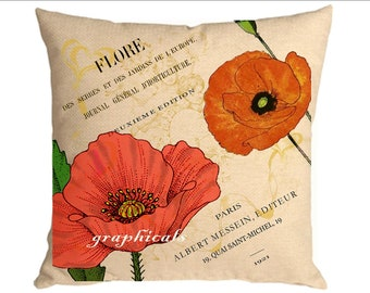 Create a designer pillow tote bag Orange poppies Paris ephemera instant digital download image for iron on fabric burlap transfer  No C40