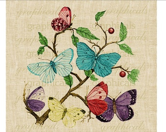 Vintage colorful butterflies Digital download graphic image for Iron on fabric transfer burlap decoupage pillows cards tote bags No. 575