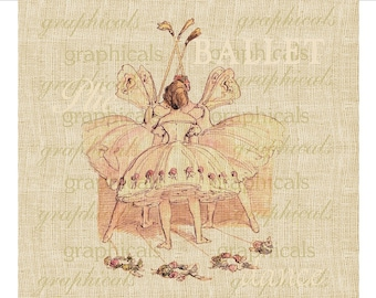 Vintage ballet pink French instant digital download graphic image for Iron on fabric transfer burlap decoupage pillow tote bag card No. 1720
