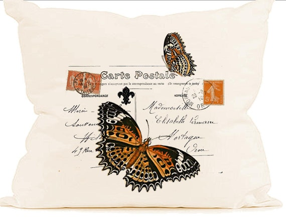 orange butterfly paris decor carte postale stamp instant digital download image for fabric. Black Bedroom Furniture Sets. Home Design Ideas