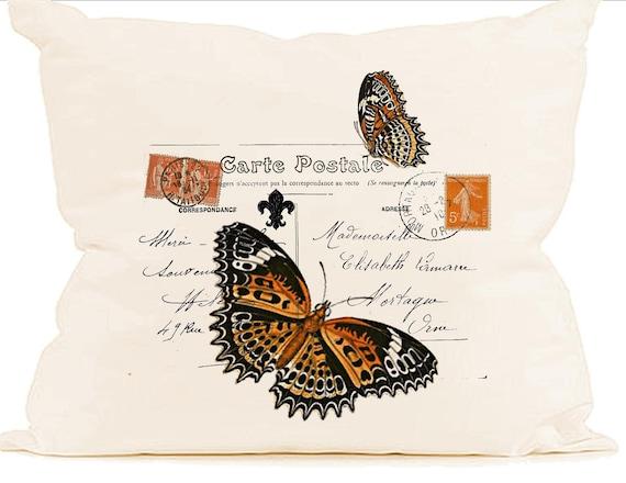 orange butterfly paris decor carte postale stamp instant. Black Bedroom Furniture Sets. Home Design Ideas