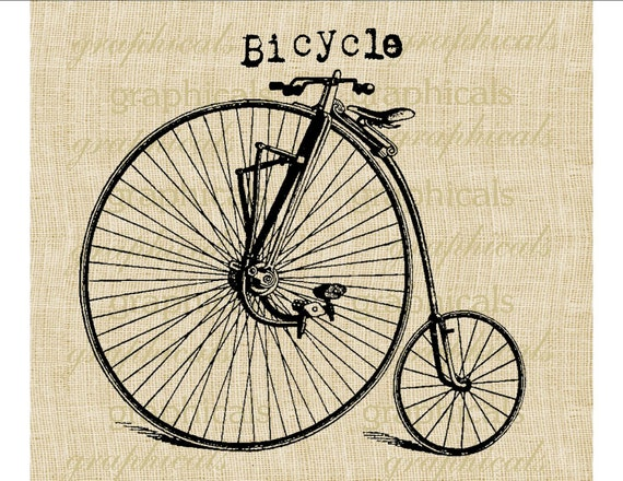 Bicycle instant clip art  Digital download image Vintage velocipede for iron on transfer to fabric paper burlap pillows tote bags No. 551