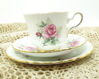 Royal Stafford Rosalind tea set footed tea cup saucer plate trio - Pink roses gold-trim teacup saucer plate set