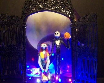 Nightmare Before Christmas Bride Groom Jack and Sally Wedding Cake Topper Colored Light