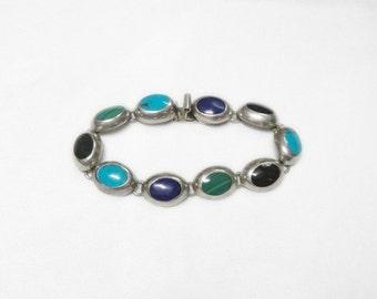 Mexico Gemstone Bracelet - Sterling Silver - Malachite Onyx Turquoise Lapis - Vintage