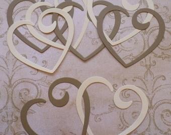 Linking Hearts Heart Shapes Rustic Wedding Heart Kraft & Cream Scrapbook Die Cuts Cardstock