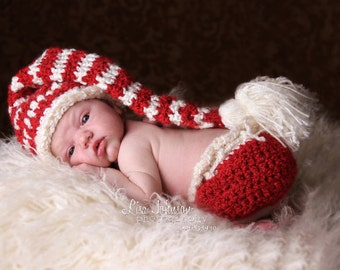 Baby Valentines Day Stocking Hat & Diaper Cover - Long Red Cream Stocking with Tassel -