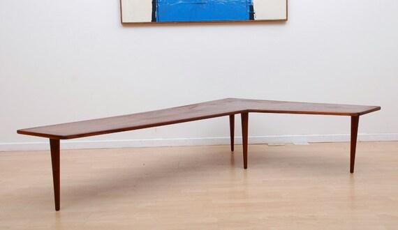 Mid Century Modern Corner Coffee Table Boomerang Shape Walnut Peg Legs