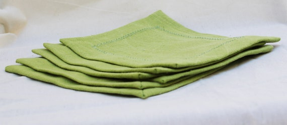 Upcycled Apple Green Linen Napkins- Set of 6 Small
