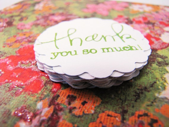 TAGS - Set of 25 two inch Scallops Thank you's Green on white