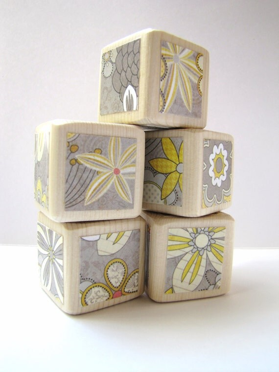 Yellow and Gray. Building Blocks. Wooden toy. Baby Shower Decoration. Unisex. Baby Blocks