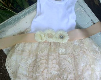 Christening Baptism Dress Infant Luxe Lace tutu Vintage Inspired, Shabby Chic Dress, Infant Lace dress, Cream Lace Baby Girl Dress