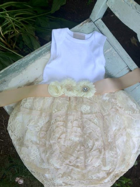 Luxe Lace Infant Shabby Chic Tutu Onesie Dress Baptism Special occasion vintage inspired flower girl summer dress EtsyKids Team