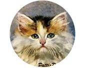 1 1/2 Fabric Cat Button - Fresh Fashion Autumn Fall Calico Kitten For Him Women Black Orange White Cream Mocha Coffee
