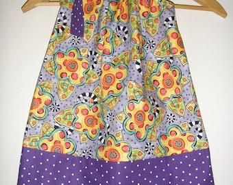 "Purple ""Happy"" Fabric by Jennifer Heynen pillowcase dress Lady out of Carolina Size SMALL 24 months to 3t   18"" top to bottom"