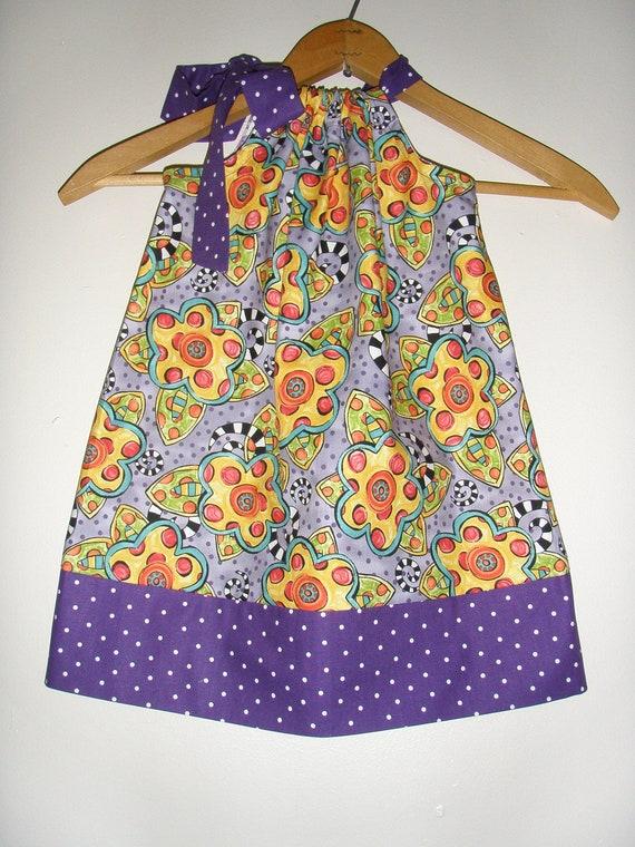 "Purple ""Happy"" Fabric by Jennifer Heynen pillowcase dress Lady out of Carolina Size medium  3 to 5 20""  top to bottom"