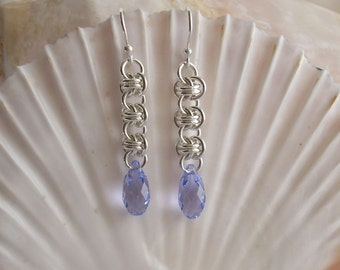 Earrings: Provence Lavender Swarovski Briolettes on Barrel Weave Argentium Silver Handmade Chainmaille