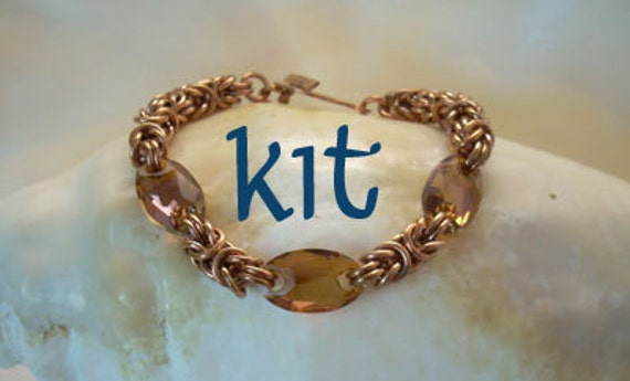 KIT to Make Copper Byzantine and Swarovski Crystal Bracelet as Seen in Bead&Button Magazine