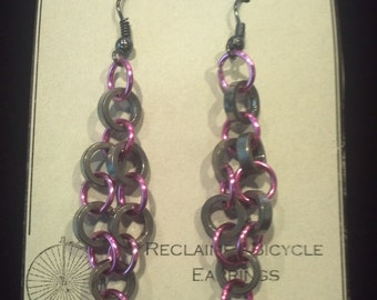 Fancy Unique Bicycle Jewelry, Pink Diamond: Reclaimed Bicycle Chain Piece Earrings