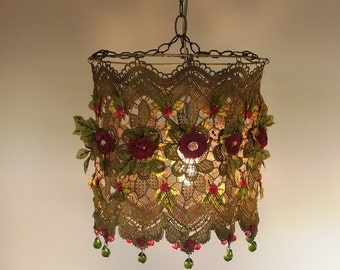Anat Bon's Handmade Lamp  - Stunning Rose Garden Fantasy Lamp Shades .