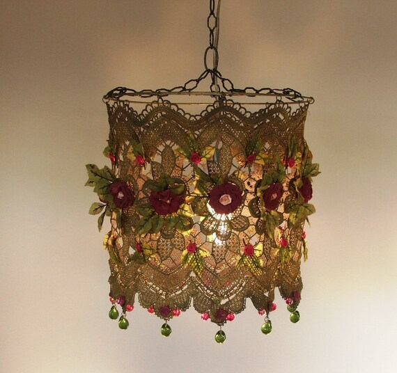 Anat Bon's Handmade Lamp  - Stunning Rose Garden Fantasy Lamp Shades