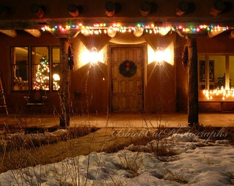 Xmas holiday decor Christmas in New Mexico Photo Print night Photography home for the Holidays adobe cottage sparkle winter wall art 5x7