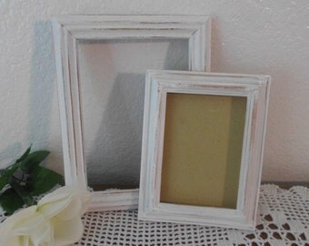 White Frame Set Shabby Chic Photo Picture Distressed Beach Cottage French Country Farmhouse Home Decor Southern Wedding Table Decoration