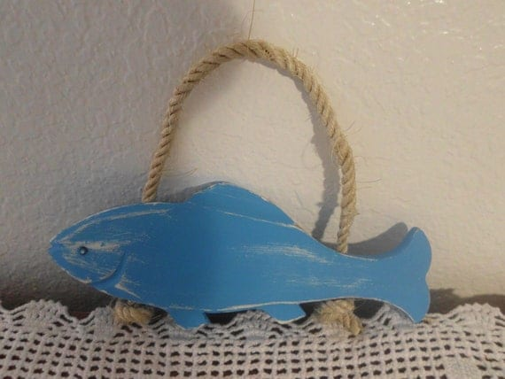 Beach Cottage Shabby Chic Aqua Turquoise Teal Blue Hanging Wooden Fish Coastal Seaside Tropical Island Home Decor
