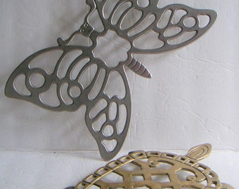 Vintage Trivets. Butterfly and Turtle. Silverplate,Brass Wall Hanging,Kitchen Accessory,Spring