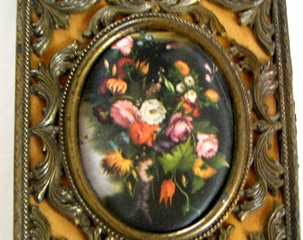 Vintage Silk Prints in Ornate Brass Frame, Made in Italy,Wall Hanging,Cottage Chic,Spring