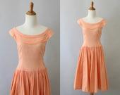 1950s dress / 50s summer dress / peach off the shoulder dress