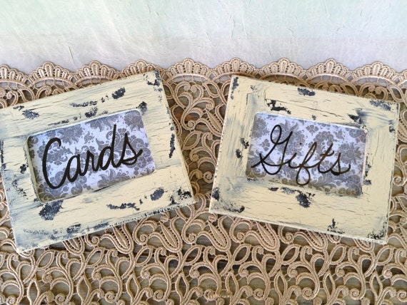 Shabby Chic Framed Cards and Gifts Wedding Sign Set