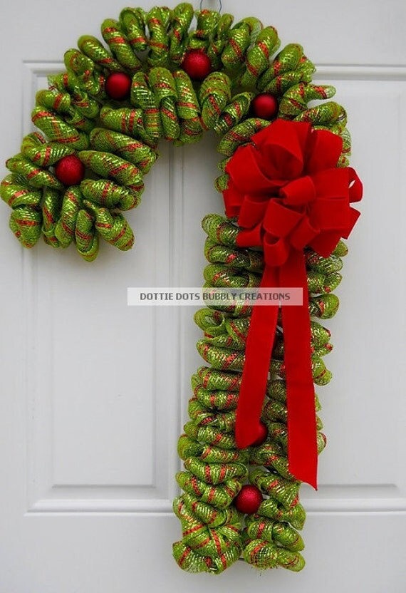 Items similar to Lime Green & Red Candy Cane Mesh Wreath (NEW ITEM ...