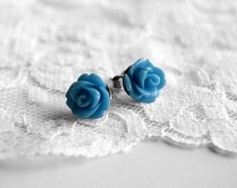 Ocean Blue Earrings - Resin Rose Earrings - 10mm - flower earrings - rose studs - flower studs - nature jewelry - bridesmaid jewelry